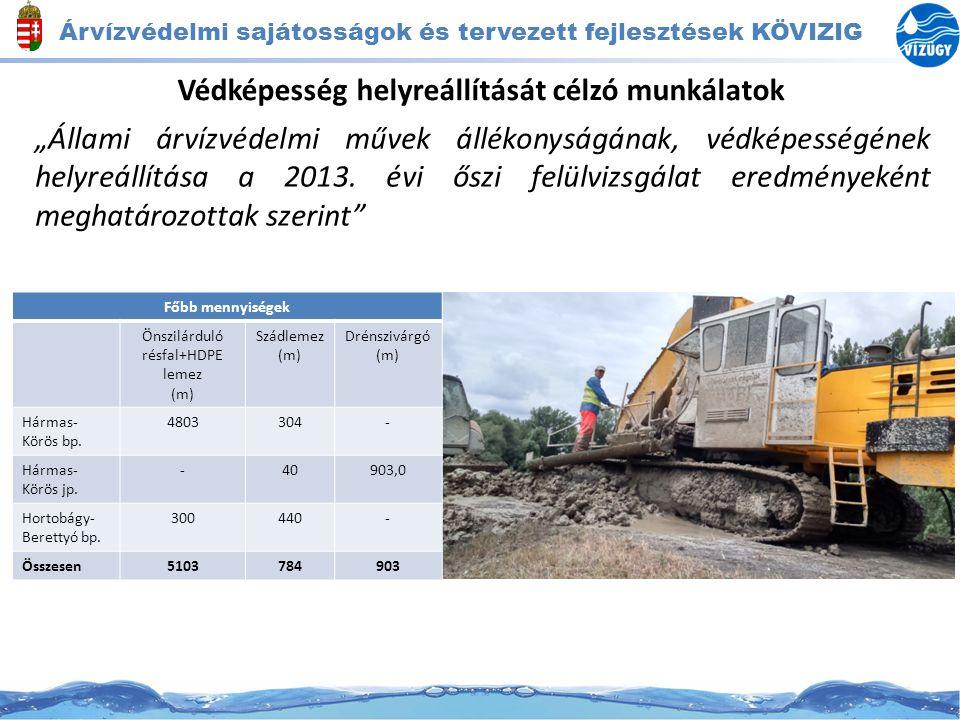 """Árvízvédelmi sajátosságok és tervezett fejlesztések KÖVIZIG Védképesség helyreállítását célzó munkálatok """"Állami árvízvédelmi művek állékonyságának, v"""