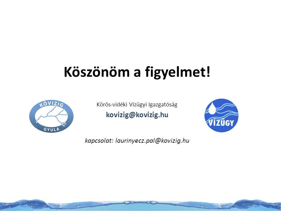 Köszönöm a figyelmet! Körös-vidéki Vízügyi Igazgatóság kovizig@kovizig.hu kapcsolat: laurinyecz.pal@kovizig.hu