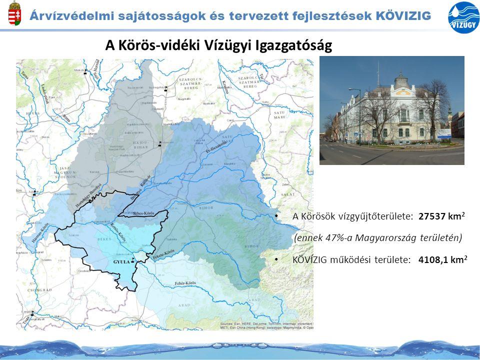 Árvízvédelmi sajátosságok és tervezett fejlesztések KÖVIZIG A Körös-vidéki Vízügyi Igazgatóság A Körösök vízgyűjtőterülete:27537 km 2 (ennek 47%-a Mag