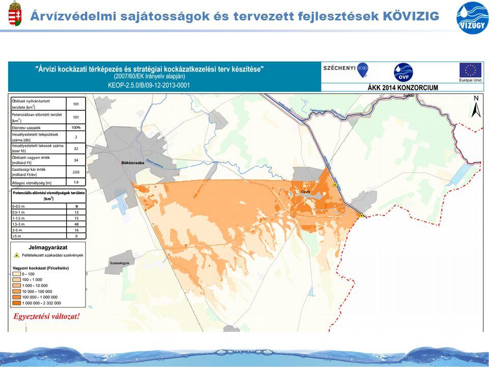 Árvízvédelmi sajátosságok és tervezett fejlesztések KÖVIZIG Intézkedések -Árvízvédelmi művek MÁSZ + 1 m-re történő kiépítése -Geotechnikailag problémá