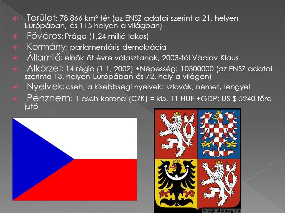  Terület : 78 866 km² tér (az ENSZ adatai szerint a 21. helyen Európában, és 115 helyen a világban)  Főváros : Prága (1,24 millió lakos)  Kormány :