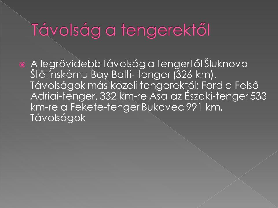  A legrövidebb távolság a tengertől Šluknova Štětínskému Bay Balti- tenger (326 km). Távolságok más közeli tengerektől: Ford a Felső Adriai-tenger, 3