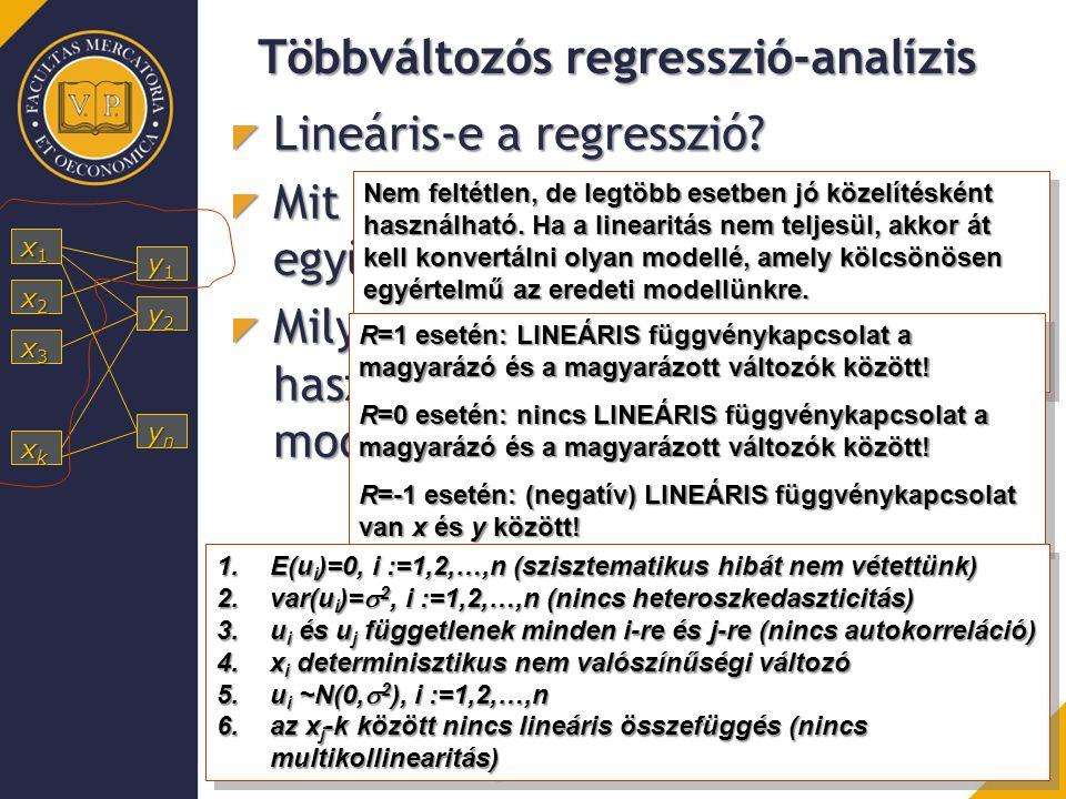 Többváltozós regresszió-analízis Lineáris-e a regresszió? Mit jelent a korrelációs együttható értéke? Milyen feltételek mellett használható a lineáris