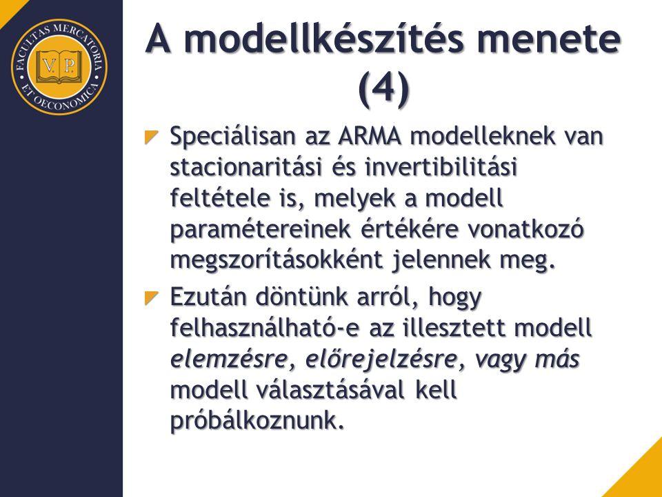 A modellkészítés menete (4) Speciálisan az ARMA modelleknek van stacionaritási és invertibilitási feltétele is, melyek a modell paramétereinek értékére vonatkozó megszorításokként jelennek meg.
