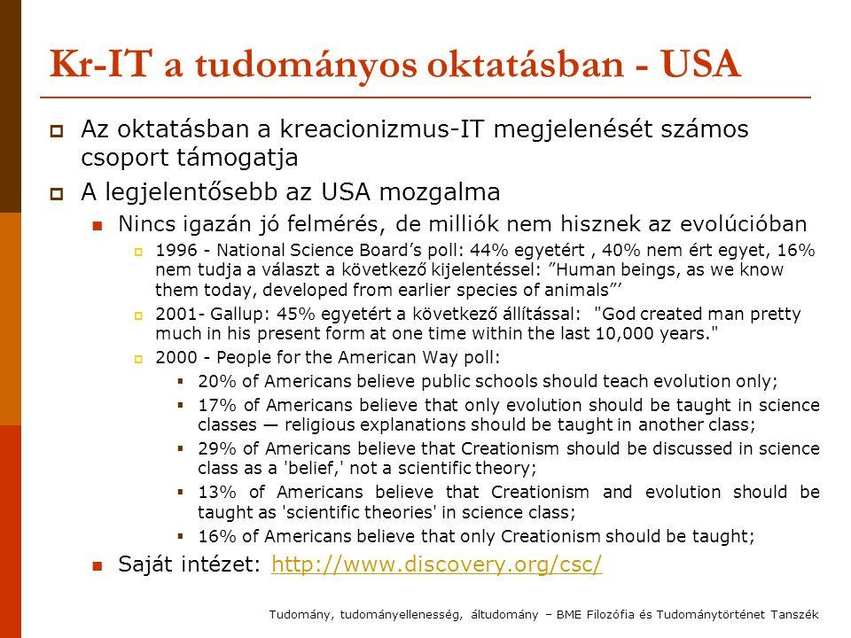Kr-IT a tudományos oktatásban - USA  Az oktatásban a kreacionizmus-IT megjelenését számos csoport támogatja  A legjelentősebb az USA mozgalma Nincs