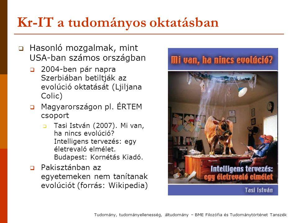Kr-IT a tudományos oktatásban  Hasonló mozgalmak, mint USA-ban számos országban  2004-ben pár napra Szerbiában betiltják az evolúció oktatását (Ljil