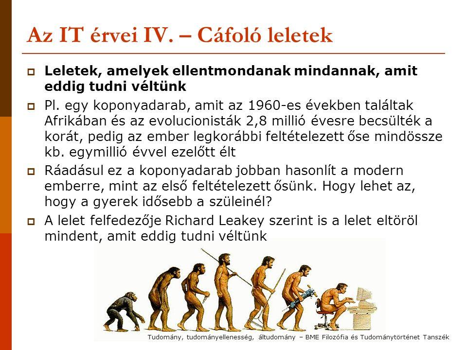 Az IT érvei IV. – Cáfoló leletek  Leletek, amelyek ellentmondanak mindannak, amit eddig tudni véltünk  Pl. egy koponyadarab, amit az 1960-es években