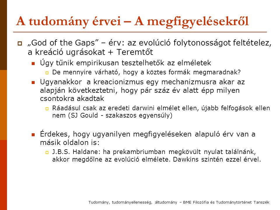 """A tudomány érvei – A megfigyelésekről  """"God of the Gaps"""" – érv: az evolúció folytonosságot feltételez, a kreáció ugrásokat + Teremtőt Úgy tűnik empir"""