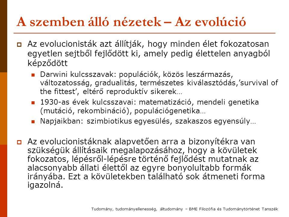 A szemben álló nézetek – Az evolúció  Az evolucionisták azt állítják, hogy minden élet fokozatosan egyetlen sejtből fejlődött ki, amely pedig élettel