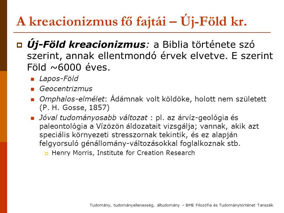 A kreacionizmus fő fajtái – Új-Föld kr.  Új-Föld kreacionizmus: a Biblia története szó szerint, annak ellentmondó érvek elvetve. E szerint Föld ~6000