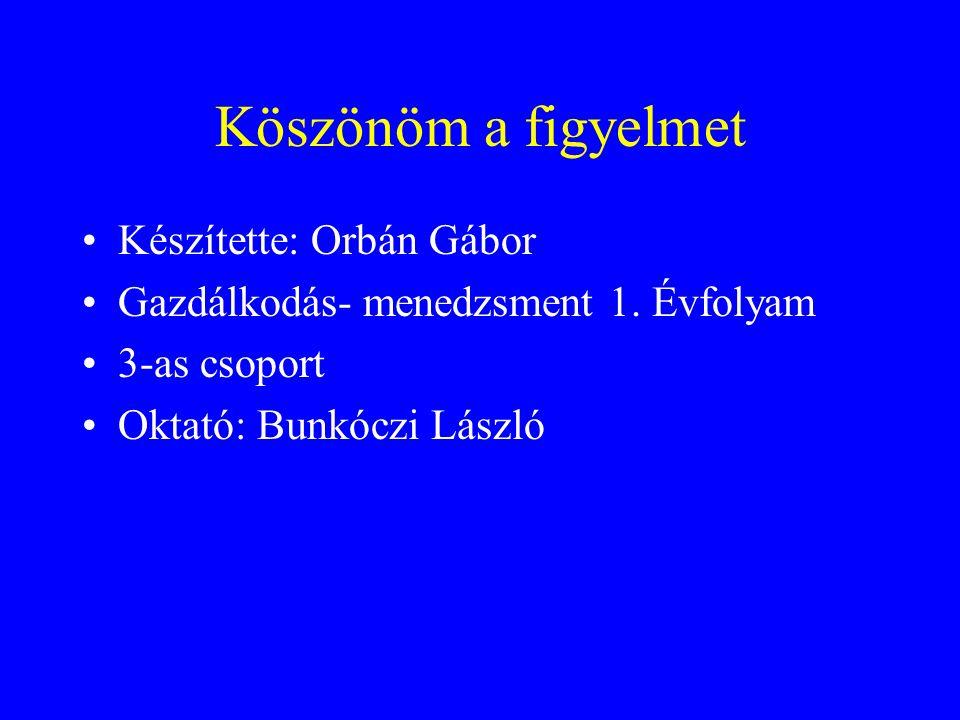 Köszönöm a figyelmet Készítette: Orbán Gábor Gazdálkodás- menedzsment 1.