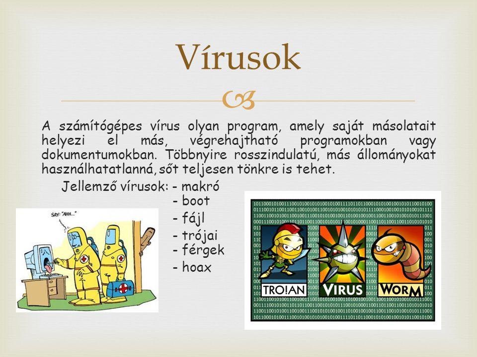  A számítógépes vírus olyan program, amely saját másolatait helyezi el más, végrehajtható programokban vagy dokumentumokban.