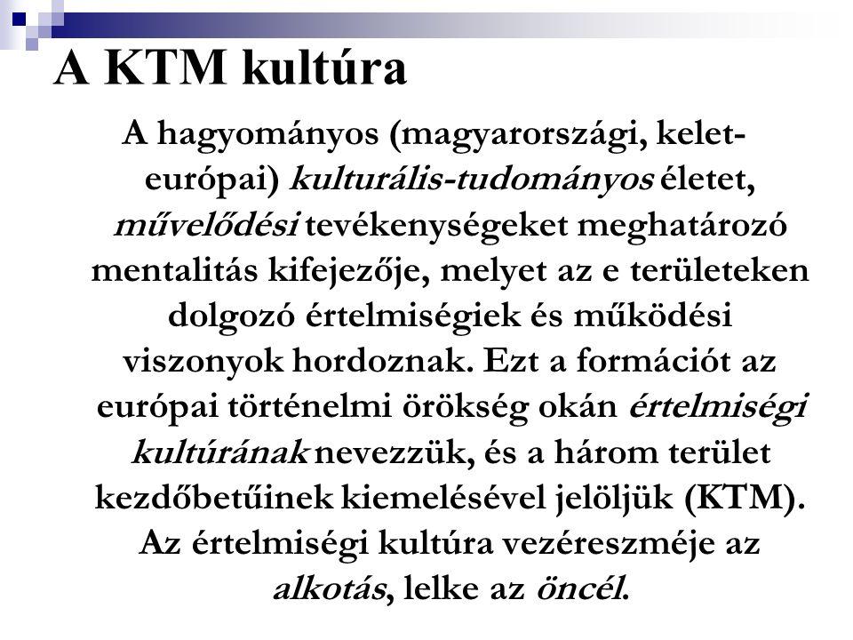 A KTM kultúra A hagyományos (magyarországi, kelet- európai) kulturális-tudományos életet, művelődési tevékenységeket meghatározó mentalitás kifejezője