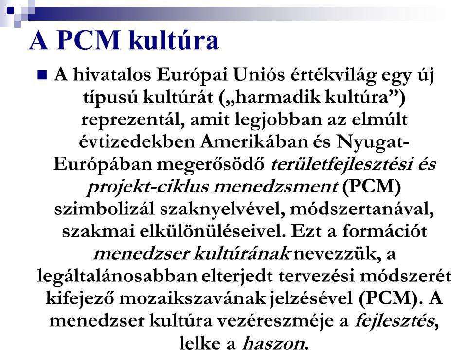 """A PCM kultúra A hivatalos Európai Uniós értékvilág egy új típusú kultúrát (""""harmadik kultúra"""") reprezentál, amit legjobban az elmúlt évtizedekben Amer"""