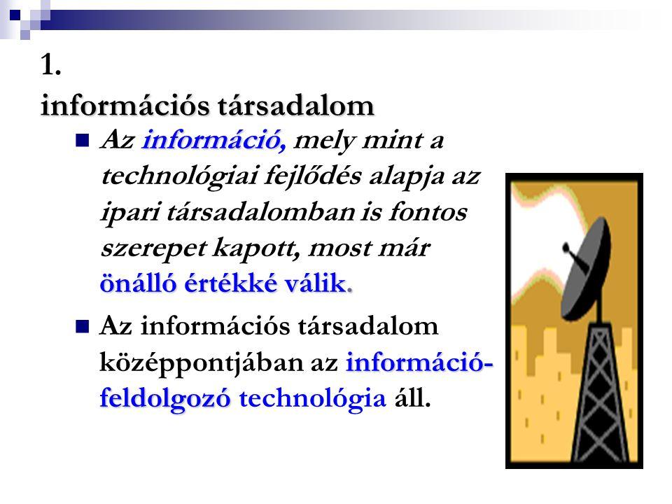 információs társadalom 1. információs társadalom információ önálló értékké válik. Az információ, mely mint a technológiai fejlődés alapja az ipari tár