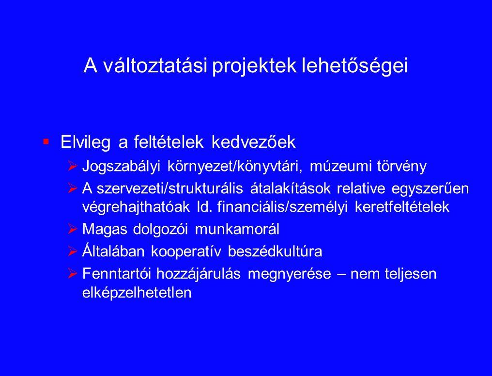 A változtatási projektek lehetőségei  Elvileg a feltételek kedvezőek  Jogszabályi környezet/könyvtári, múzeumi törvény  A szervezeti/strukturális á