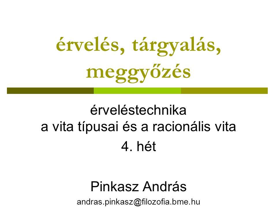 érvelés, tárgyalás, meggyőzés érveléstechnika a vita típusai és a racionális vita 4. hét Pinkasz András andras.pinkasz@filozofia.bme.hu