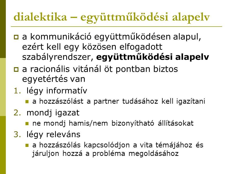 dialektika – együttműködési alapelv  a kommunikáció együttműködésen alapul, ezért kell egy közösen elfogadott szabályrendszer, együttműködési alapelv