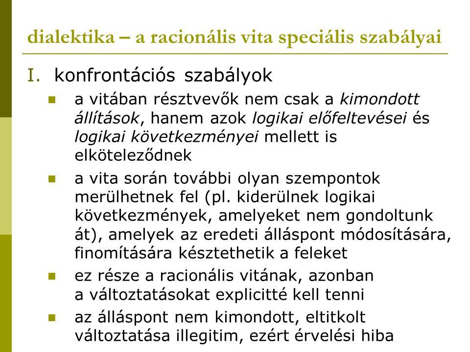dialektika – a racionális vita speciális szabályai I.konfrontációs szabályok a vitában résztvevők nem csak a kimondott állítások, hanem azok logikai e