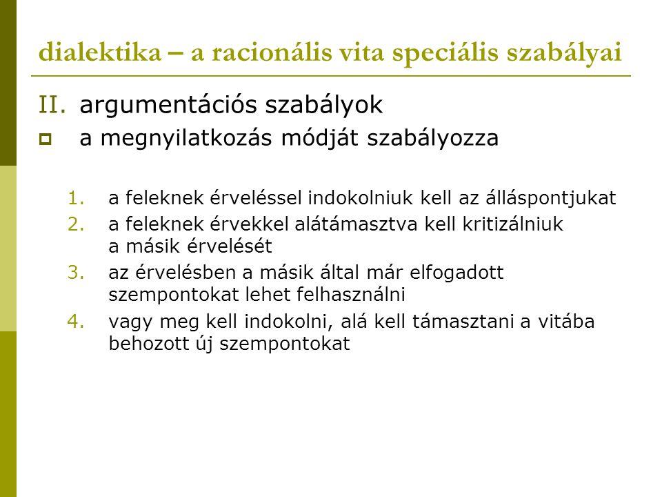 dialektika – a racionális vita speciális szabályai II.argumentációs szabályok  a megnyilatkozás módját szabályozza 1.a feleknek érveléssel indokolniu