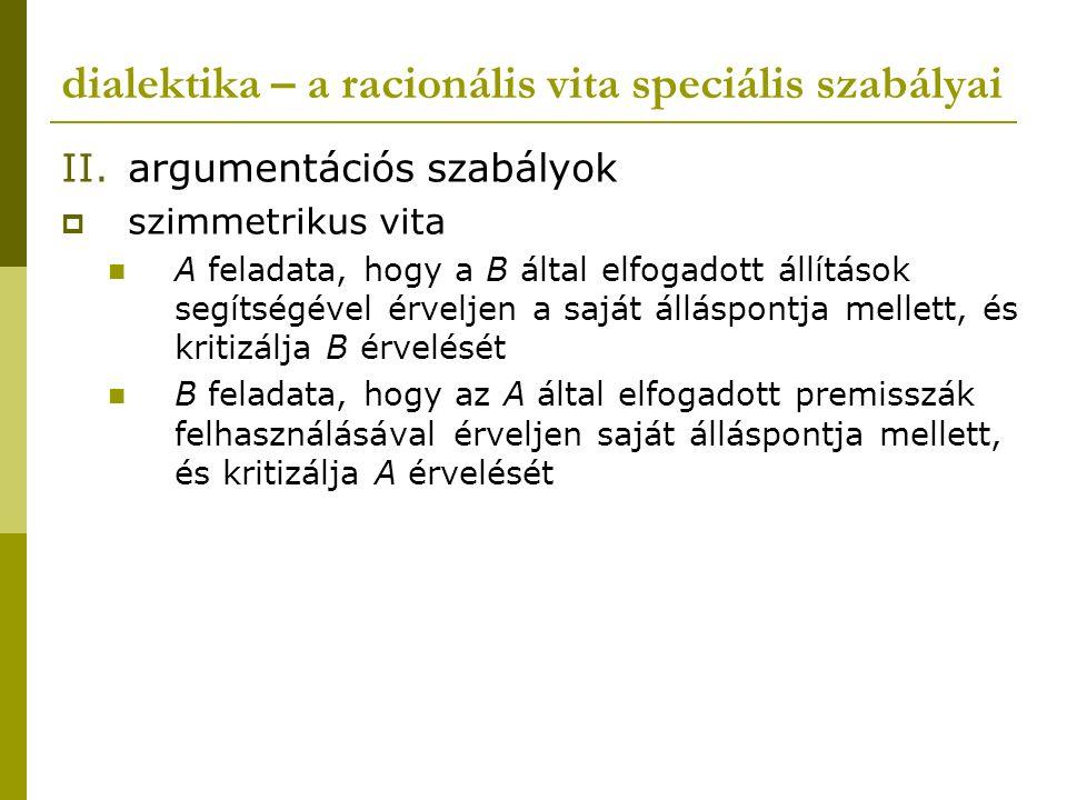 dialektika – a racionális vita speciális szabályai II.argumentációs szabályok  szimmetrikus vita A feladata, hogy a B által elfogadott állítások segí