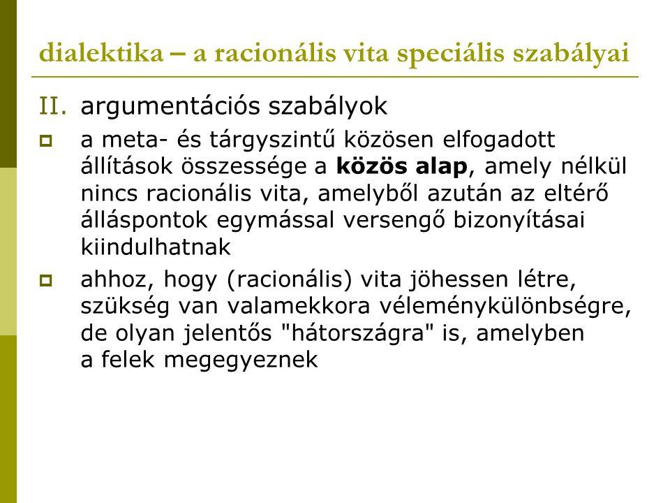 dialektika – a racionális vita speciális szabályai II.argumentációs szabályok  a meta- és tárgyszintű közösen elfogadott állítások összessége a közös