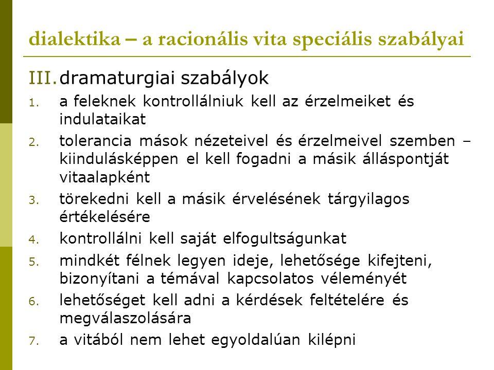 dialektika – a racionális vita speciális szabályai III.dramaturgiai szabályok 1. a feleknek kontrollálniuk kell az érzelmeiket és indulataikat 2. tole