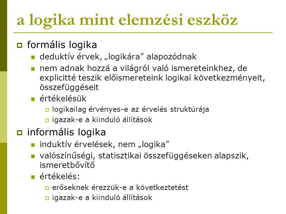 """a logika mint elemzési eszköz  formális logika deduktív érvek, """"logikára"""" alapozódnak nem adnak hozzá a világról való ismereteinkhez, de explicitté t"""