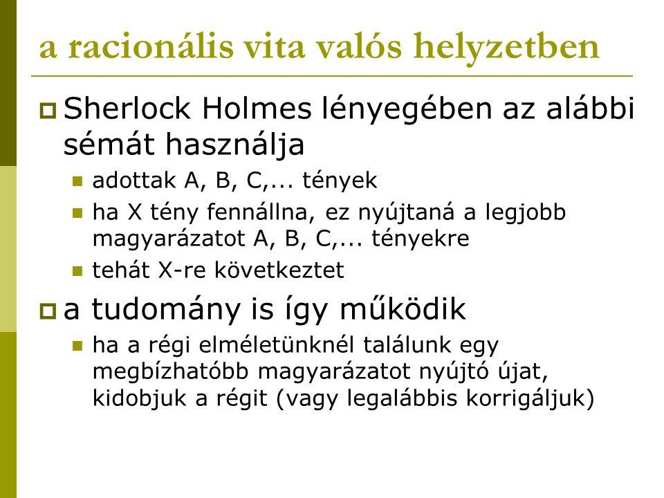 a racionális vita valós helyzetben  Sherlock Holmes lényegében az alábbi sémát használja adottak A, B, C,... tények ha X tény fennállna, ez nyújtaná
