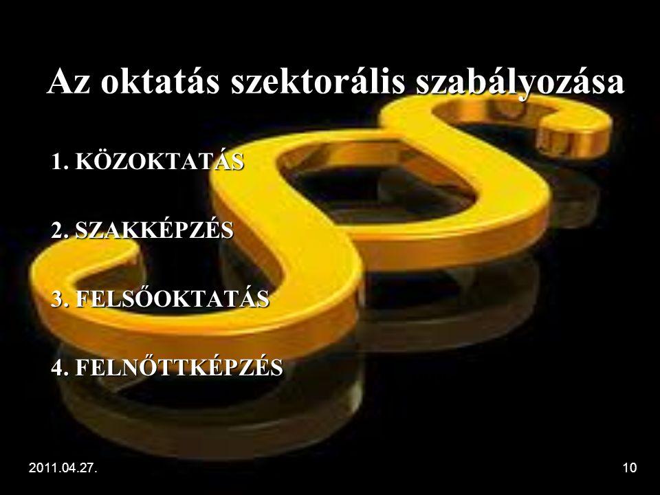 2011.04.27.10 Az oktatás szektorális szabályozása 1.