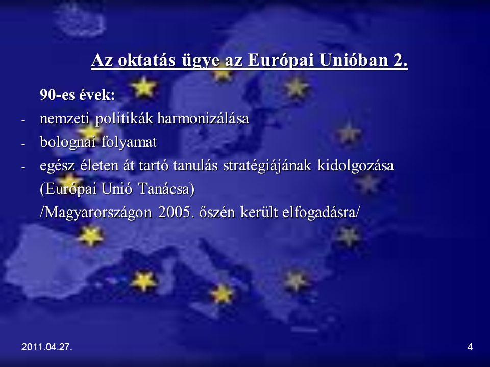 2011.04.27.4 Az oktatás ügye az Európai Unióban 2. 90-es évek: - nemzeti politikák harmonizálása - bolognai folyamat - egész életen át tartó tanulás s