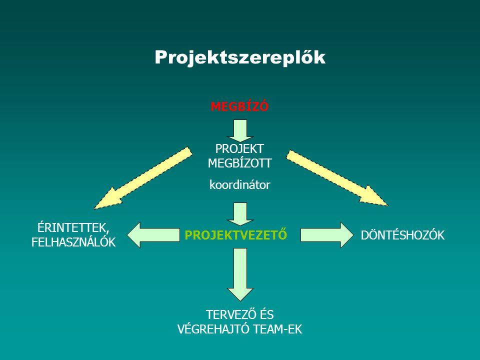 Projektszereplők MEGBÍZÓ PROJEKT MEGBÍZOTT koordinátor PROJEKTVEZETŐ TERVEZŐ ÉS VÉGREHAJTÓ TEAM-EK DÖNTÉSHOZÓK ÉRINTETTEK, FELHASZNÁLÓK