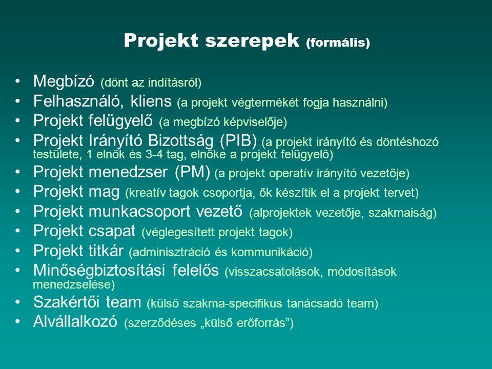 Projekt szerepek (formális) Megbízó (dönt az indításról) Felhasználó, kliens (a projekt végtermékét fogja használni) Projekt felügyelő (a megbízó képv
