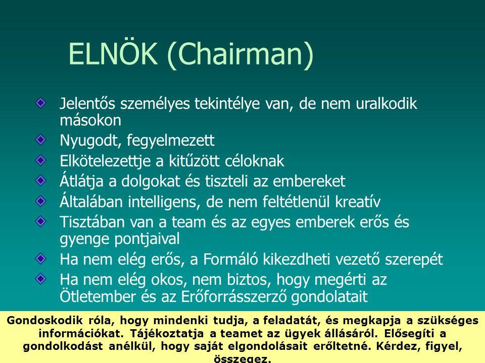 HEFOP 3.3.1. ELNÖK (Chairman) Jelentős személyes tekintélye van, de nem uralkodik másokon Nyugodt, fegyelmezett Elkötelezettje a kitűzött céloknak Átl
