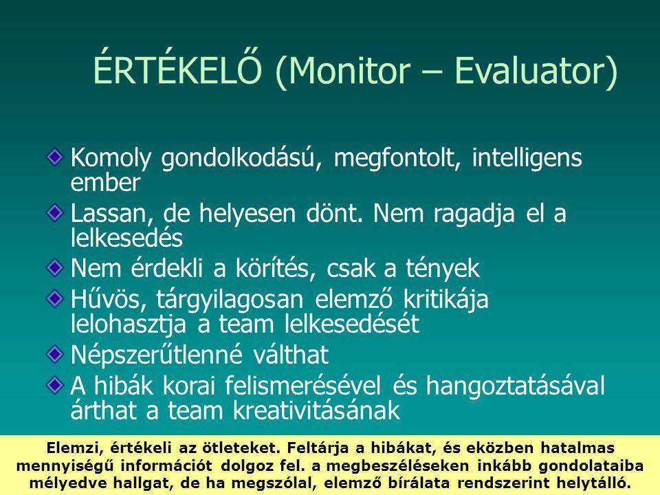 HEFOP 3.3.1. ÉRTÉKELŐ (Monitor – Evaluator) Komoly gondolkodású, megfontolt, intelligens ember Lassan, de helyesen dönt. Nem ragadja el a lelkesedés N