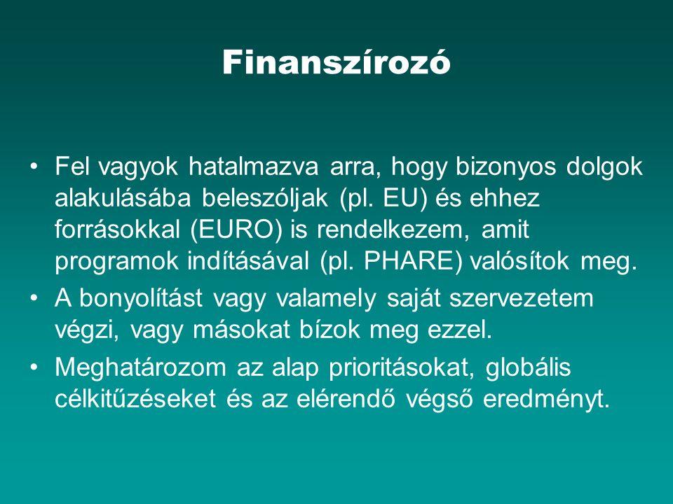 Finanszírozó Fel vagyok hatalmazva arra, hogy bizonyos dolgok alakulásába beleszóljak (pl. EU) és ehhez forrásokkal (EURO) is rendelkezem, amit progra