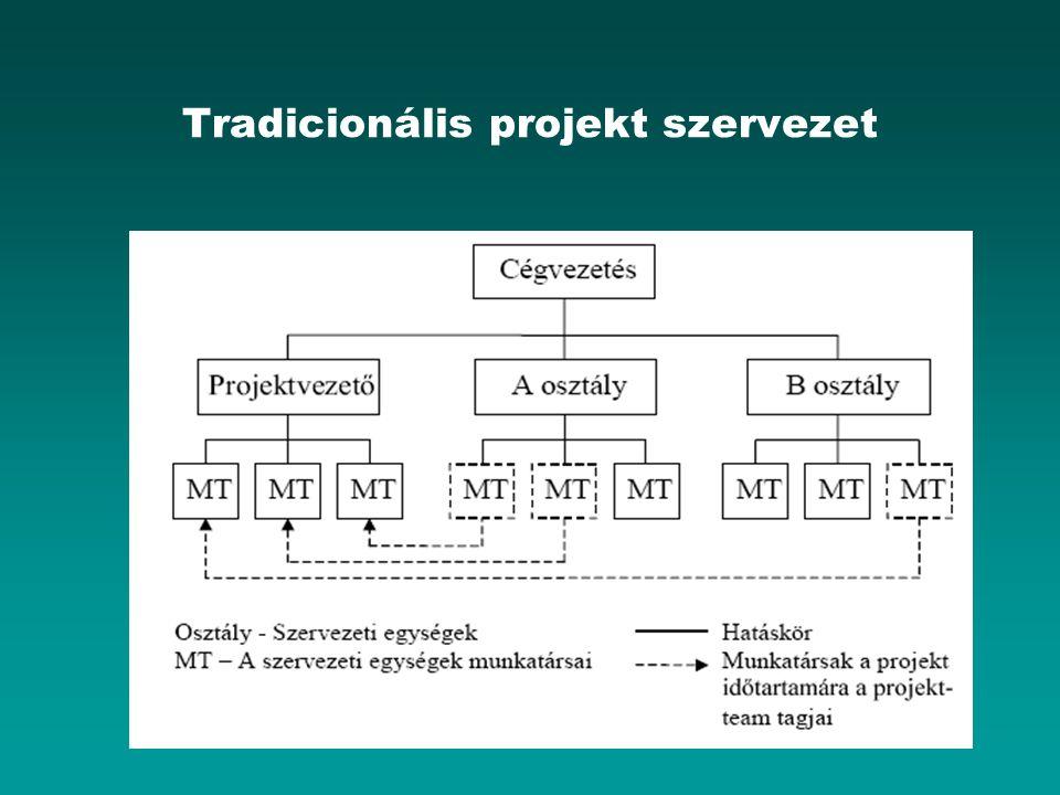 A projektmenedzser személye Feladata: a projektmegvalósítás folyamatának vezetése irányítása szervezése Tényleges hatásköre erősen függ a befolyásolási képességétől, a szükséges alábbi alaptulajdonságok mellett : –Erős, de elfogadott személyiség, jó tárgyalási készséggel és diplomáciai érzékkel –Bizonyítottan magas szakmai kvalitás a projekttevékenységek legalább egy ágazatában –Szakismeretén kívüli területek elfogadása, összefüggésekben látás képessége –Érdekeltség a projekt sikeres befejezésében –Pénzügyi folyamatok, szerződési jog ismerete, vállalkozói dinamizmus