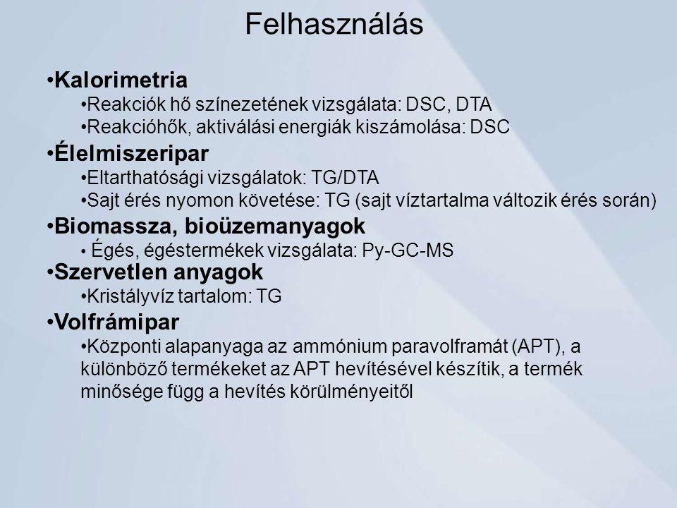 Élelmiszeripar Eltarthatósági vizsgálatok: TG/DTA Sajt érés nyomon követése: TG (sajt víztartalma változik érés során) Biomassza, bioüzemanyagok Égés, égéstermékek vizsgálata: Py-GC-MS Kalorimetria Reakciók hő színezetének vizsgálata: DSC, DTA Reakcióhők, aktiválási energiák kiszámolása: DSC Felhasználás Szervetlen anyagok Kristályvíz tartalom: TG Volfrámipar Központi alapanyaga az ammónium paravolframát (APT), a különböző termékeket az APT hevítésével készítik, a termék minősége függ a hevítés körülményeitől