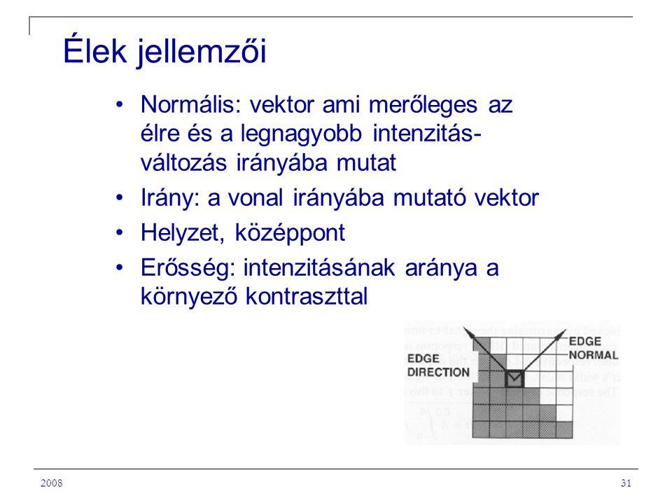 200831 Élek jellemzői Normális: vektor ami merőleges az élre és a legnagyobb intenzitás- változás irányába mutat Irány: a vonal irányába mutató vektor Helyzet, középpont Erősség: intenzitásának aránya a környező kontraszttal