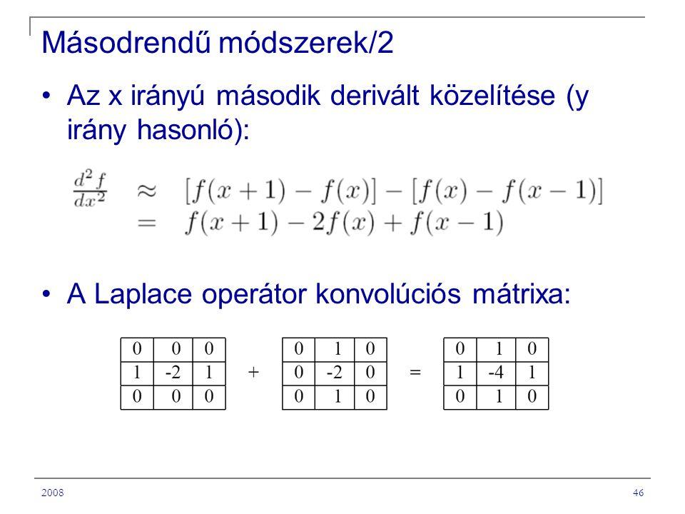200846 Másodrendű módszerek/2 Az x irányú második derivált közelítése (y irány hasonló): A Laplace operátor konvolúciós mátrixa: