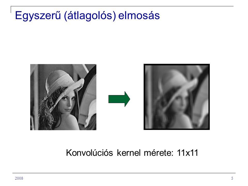 20085 Egyszerű (átlagolós) elmosás Konvolúciós kernel mérete: 11x11