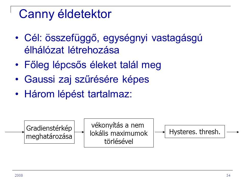 200854 Canny éldetektor Cél: összefüggő, egységnyi vastagásgú élhálózat létrehozása Főleg lépcsős éleket talál meg Gaussi zaj szűrésére képes Három lépést tartalmaz: Gradienstérkép meghatározása vékonyítás a nem lokális maximumok törlésével Hysteres.