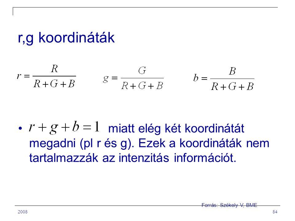 200884 r,g koordináták miatt elég két koordinátát megadni (pl r és g).