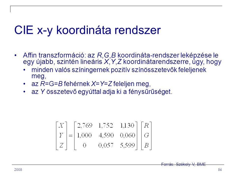 200886 CIE x-y koordináta rendszer Affin transzformáció: az R,G,B koordináta-rendszer leképzése le egy újabb, szintén lineáris X,Y,Z koordinátarendszerre, úgy, hogy minden valós színingernek pozitív színösszetevők feleljenek meg, az R=G=B fehérnek X=Y=Z feleljen meg, az Y összetevő egyúttal adja ki a fénysűrűséget.