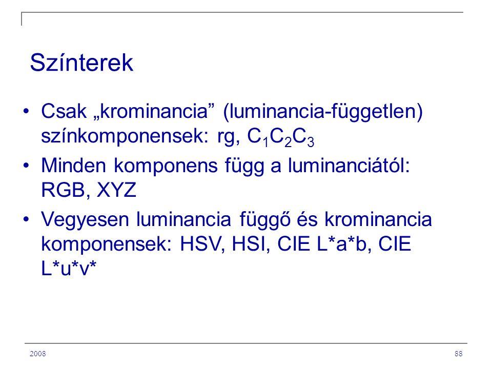 """200888 Színterek Csak """"krominancia (luminancia-független) színkomponensek: rg, C 1 C 2 C 3 Minden komponens függ a luminanciától: RGB, XYZ Vegyesen luminancia függő és krominancia komponensek: HSV, HSI, CIE L*a*b, CIE L*u*v*"""