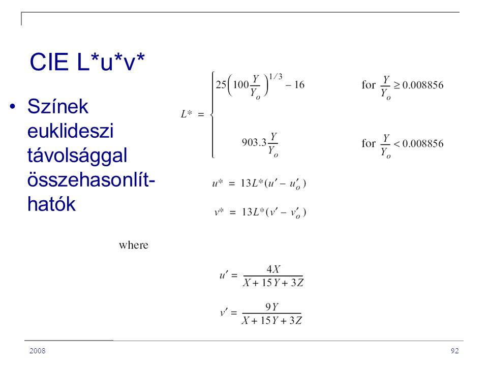 200892 CIE L*u*v* Színek euklideszi távolsággal összehasonlít- hatók