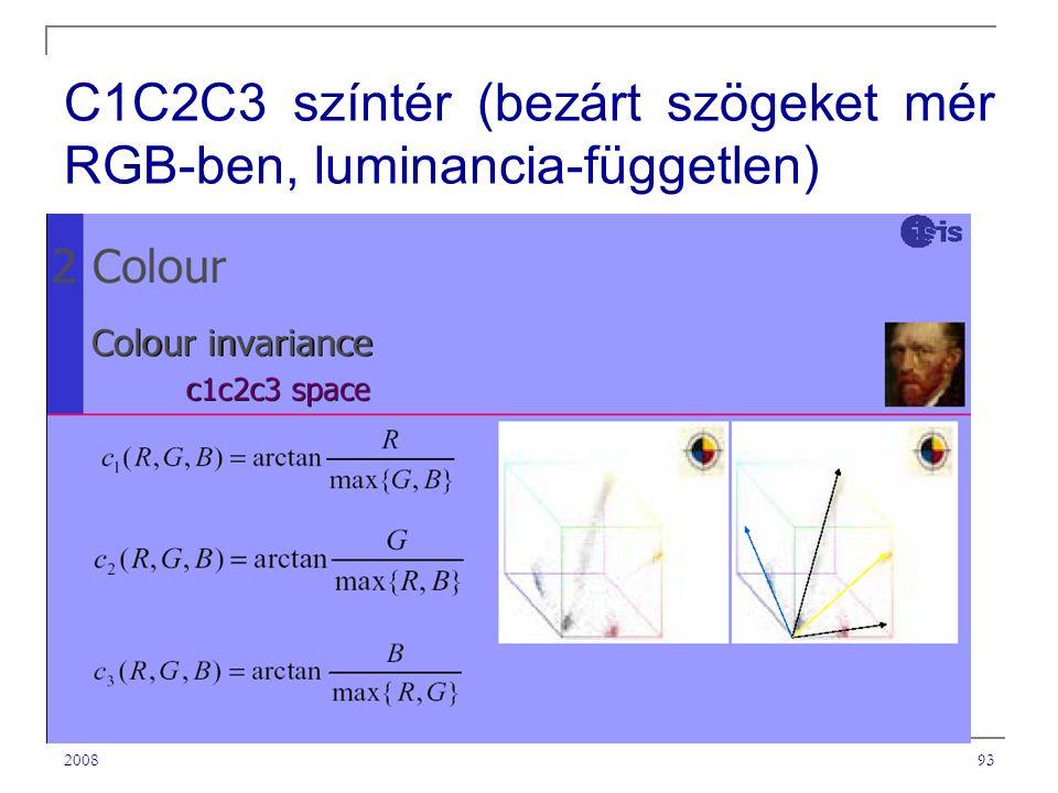200893 C1C2C3 színtér (bezárt szögeket mér RGB-ben, luminancia-független)