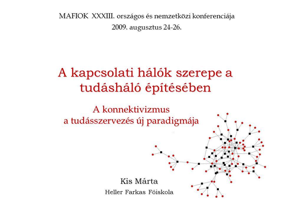 A kapcsolati hálók szerepe a tudásháló építésében Kis Márta Heller Farkas Főiskola A konnektivizmus a tudásszervezés új paradigmája MAFIOK XXXIII.
