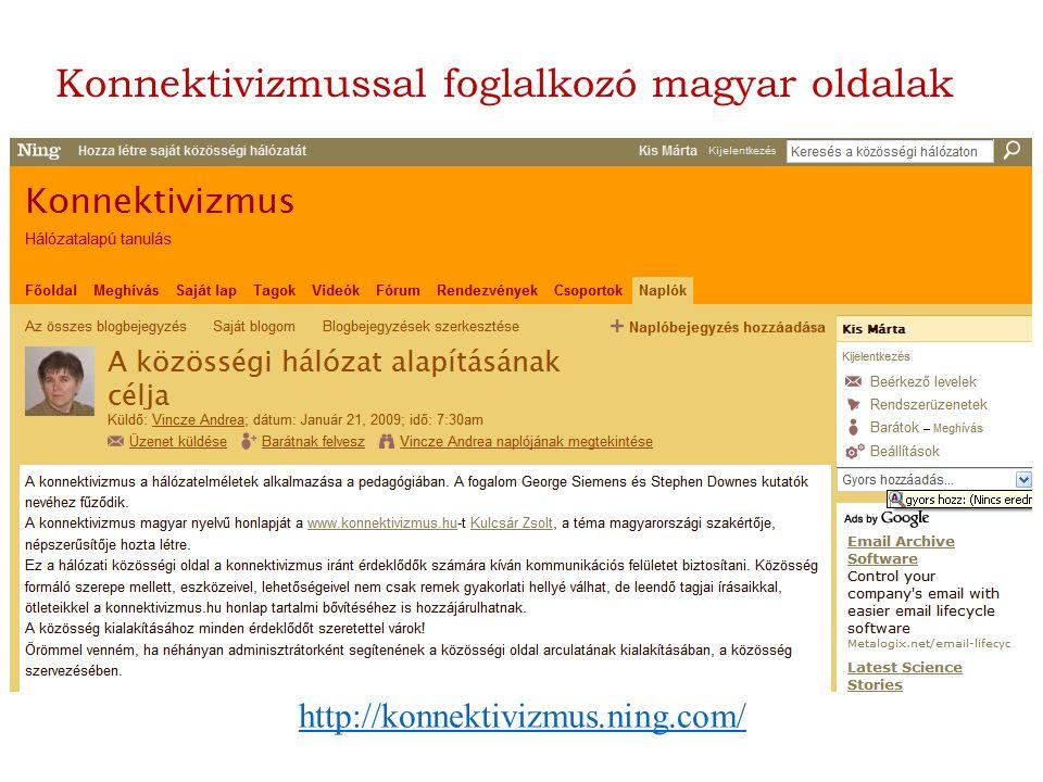 http://konnektivizmus.ning.com/ Konnektivizmussal foglalkozó magyar oldalak