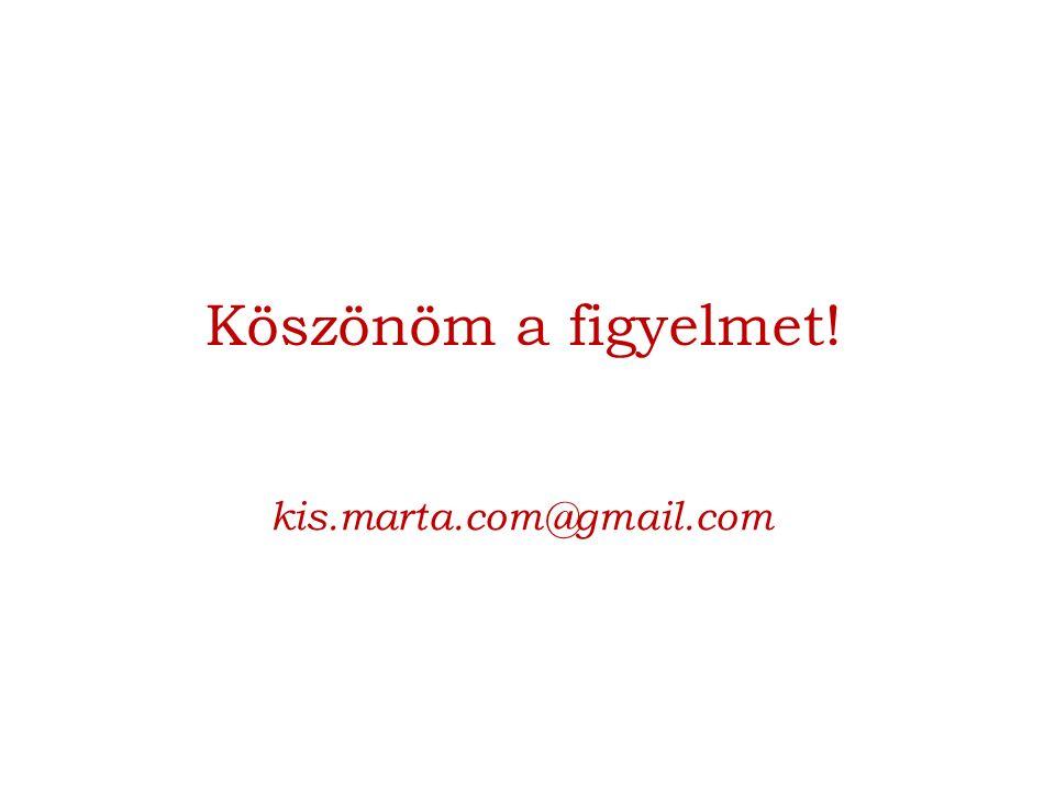 Köszönöm a figyelmet! kis.marta.com@gmail.com